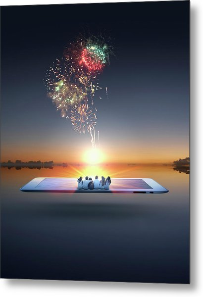 People Watching Fireworks Erupt From Metal Print by Colin Anderson Productions Pty Ltd