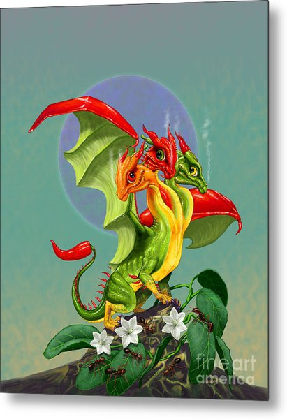 Peppers Dragon Metal Print