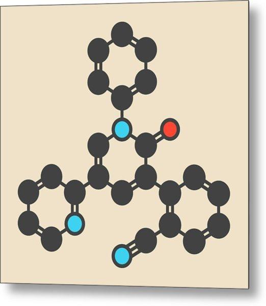 Perampanel Epilepsy Drug Molecule Metal Print by Molekuul