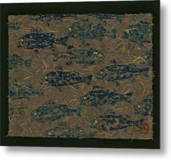 Perch School On Mocha Unryu Paper Metal Print