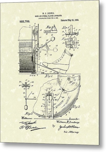 Metal Print featuring the drawing Percussion System 1909 Patent Art by Prior Art Design