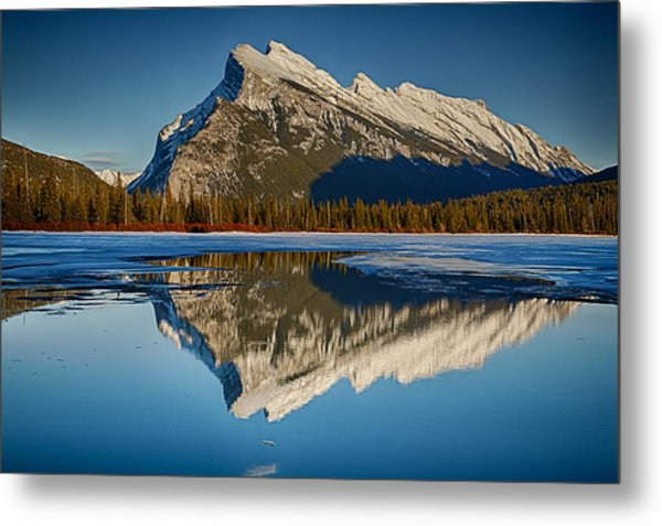 Perfect Reflection Of Rundle Mountain Metal Print