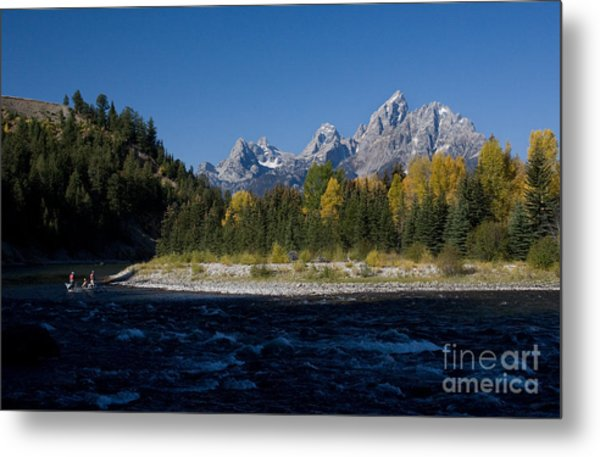 Perfect Spot For Fishing With Grand Teton Vista Metal Print