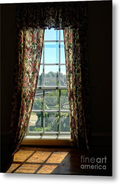 Period Window With Floral Curtains Metal Print
