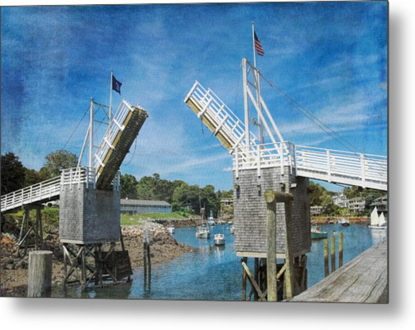 Metal Print featuring the photograph Perkins Cove Drawbridge Textured by Jemmy Archer