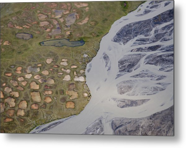 Permafrost Polygons And Braided River Metal Print