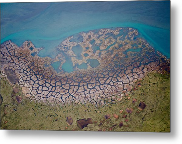 Permafrost Polygons On The Coast Metal Print