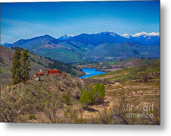 Metal Print featuring the painting Perrygin Lake In The Methow Valley Landscape Art by Omaste Witkowski
