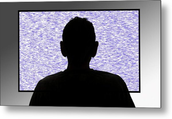 Person In Front Of Flickering Tv Screen Metal Print by Victor De Schwanberg/science Photo Library