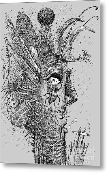Person Insect. Smoker. Surrealistic Metal Print by Alex74