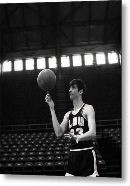 Pete Maravich Spinning Ball On Finger Metal Print