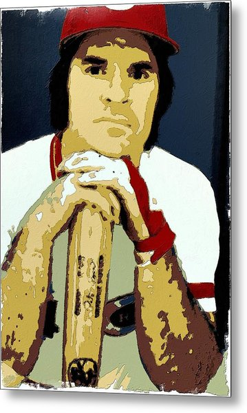 Pete Rose Poster Art Metal Print