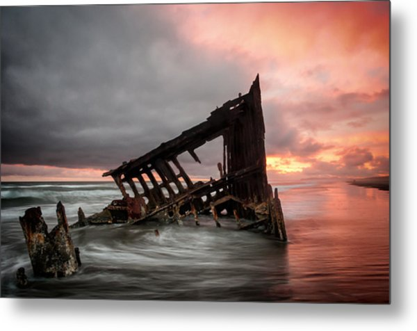 Peter Iredale Sunset Metal Print