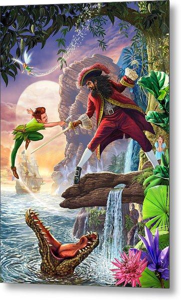 Peter Pan And Captain Hook Metal Print