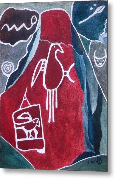 Petroglyph Parrot Metal Print
