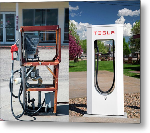 Petrol Pump And Electric Charging Point Metal Print by Jim West