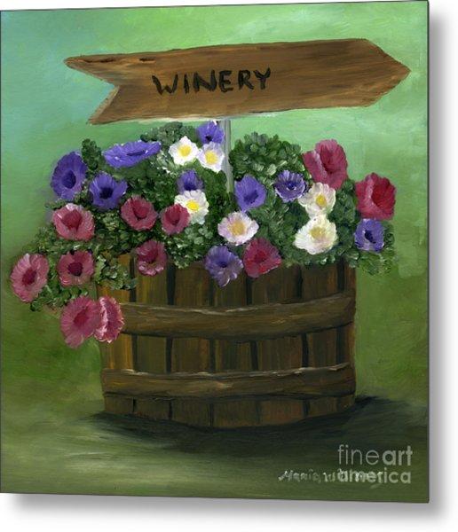 Petunias In A Barrel Metal Print by Maria Williams