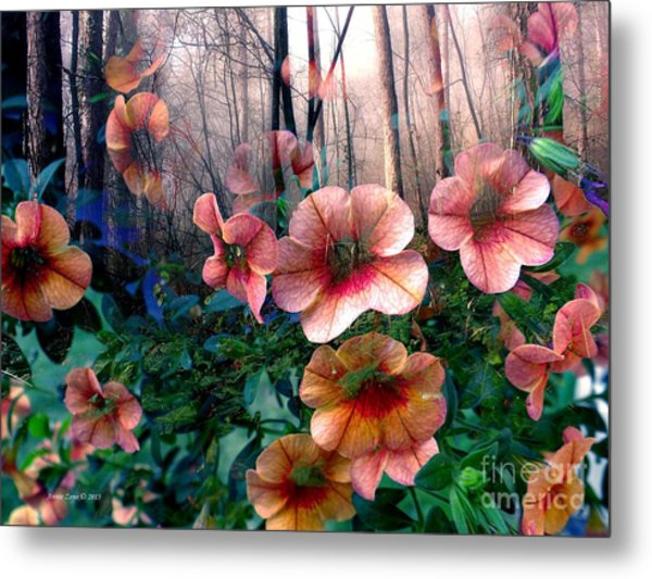 Petunias In The Forest Metal Print