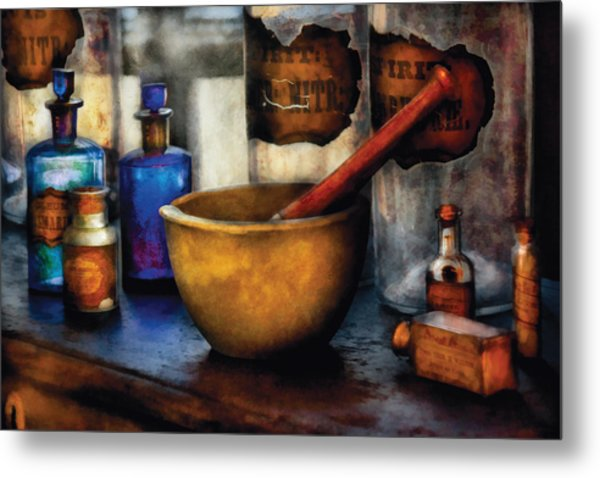 Pharmacist - Mortar And Pestle Metal Print