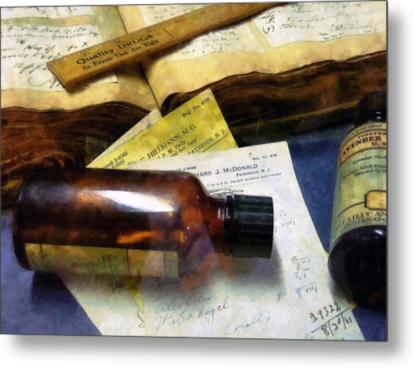 Pharmacist - Prescriptions And Medicine Bottles Metal Print