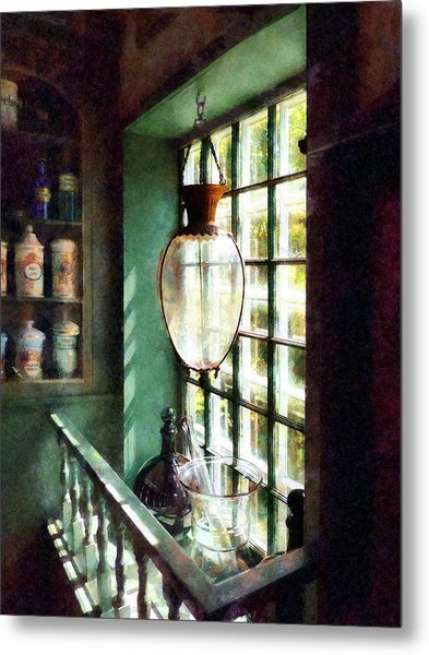 Pharmacy - Glass Mortar And Pestle On Windowsill Metal Print