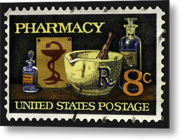 Pharmacy Stamp With Bowl Of Hygeia Metal Print