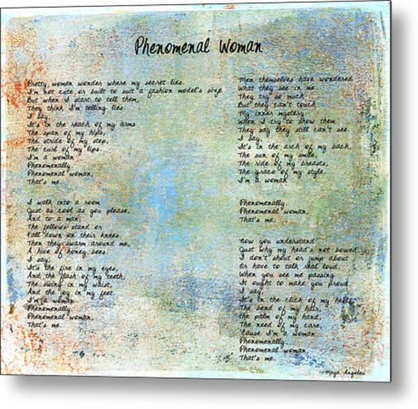 Phenomenal Woman - Blue Rustic Metal Print