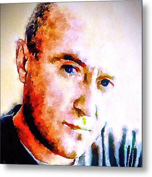 Phil Collins Digital Watercolor Portrait 2 Metal Print