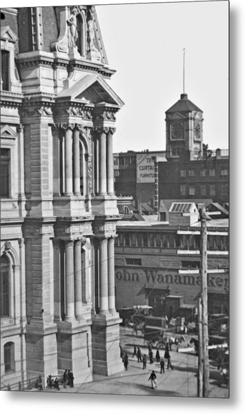 Philadelphia City Hall And Wanamaker Store C 1900 Vintage Photog Metal Print