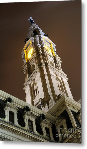 Philadelphia City Hall Clock Tower At Night Metal Print