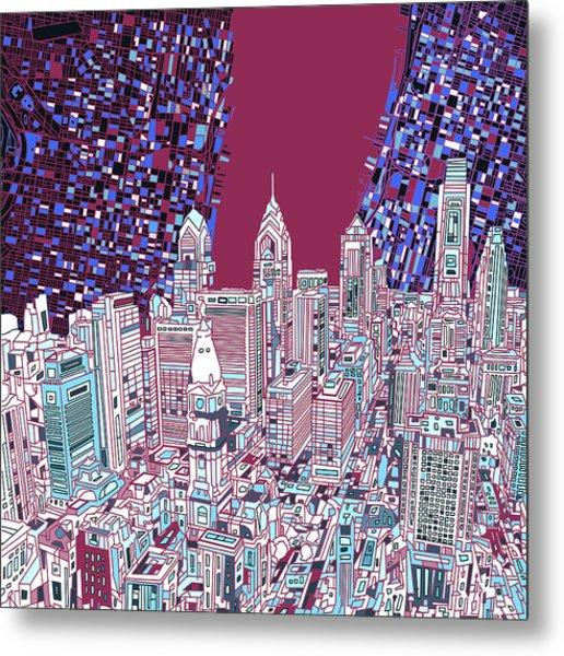 Philadelphia Map Panorama 2 Metal Print