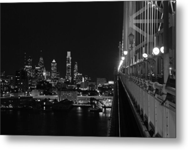 Philadelphia Night B/w Metal Print