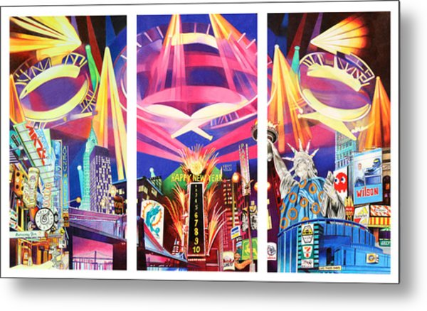 Phish New York For New Years Triptych Metal Print