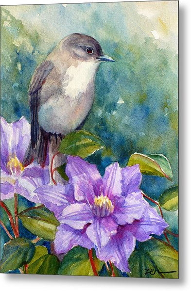 Phoebe And Clematis Metal Print
