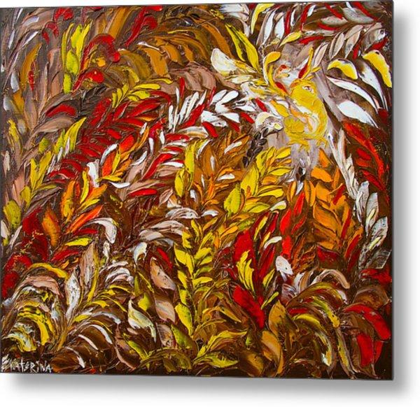 Phoenix Flower Painting Metal Print
