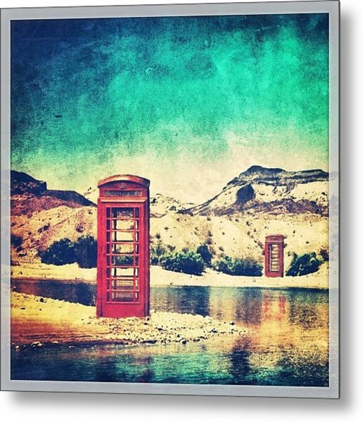 #phone #telephone #box #booth #desert Metal Print