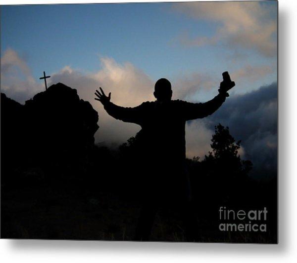 Photographer Shadow With Cross Metal Print