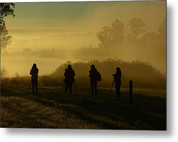 Photographers In The Mist Metal Print