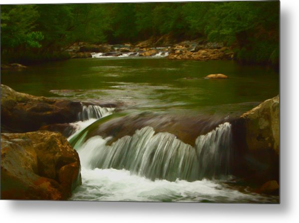 Photographic Painting Of Rushing Water Metal Print