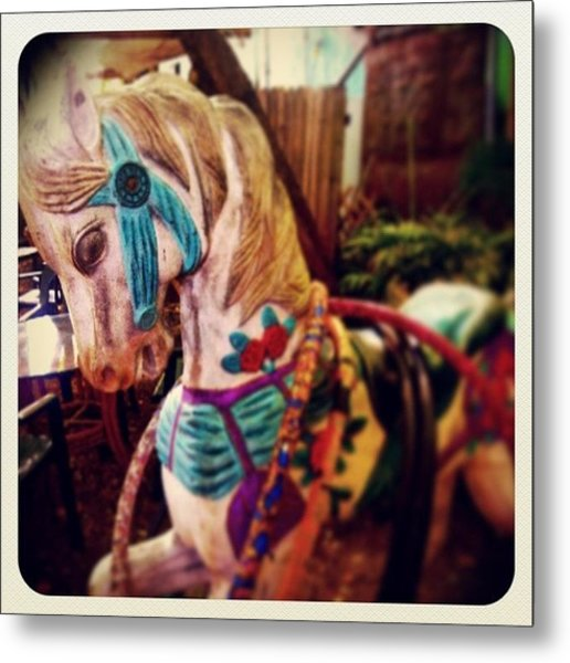 Blue Heaven Carousel Horse Metal Print