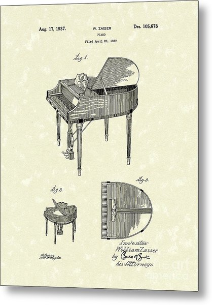 Piano 1937 Patent Art Metal Print