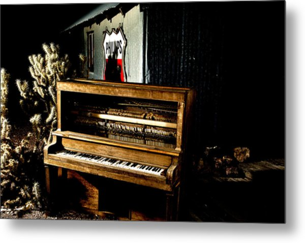 Piano In The Dark.  Metal Print