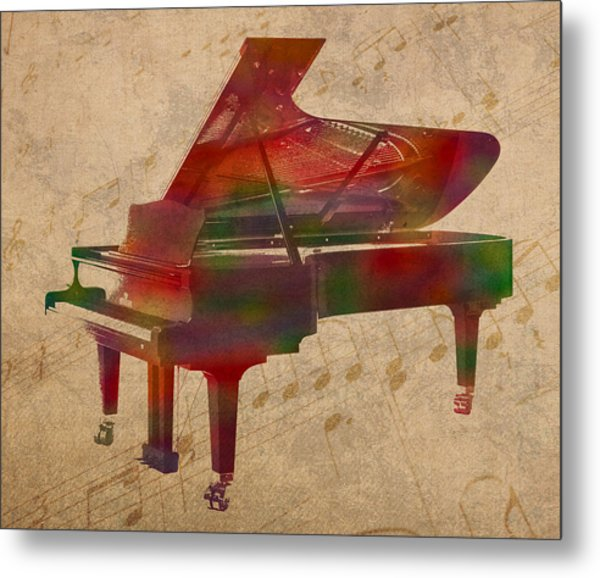 Piano Instrument Watercolor Portrait With Sheet Music Background On Worn Canvas Metal Print