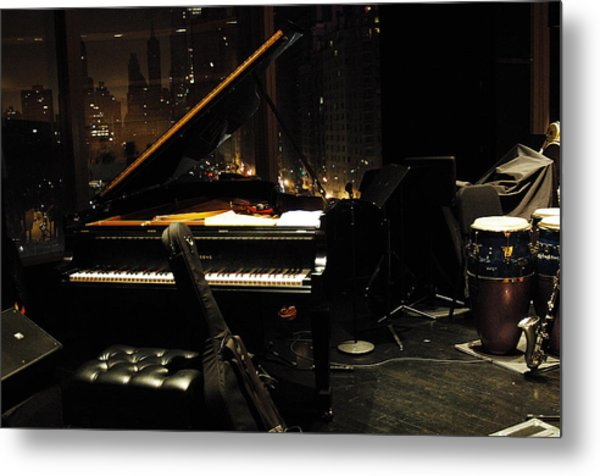 Piano Over Manhatten Metal Print