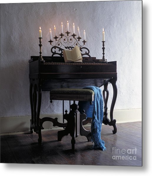 Piano With Candelabra Metal Print