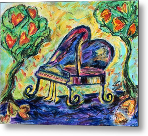 Piano With Heart Trees Metal Print by Kelly Athena