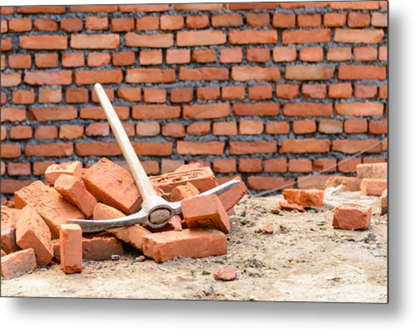 Pickaxe On A Construction Site Metal Print