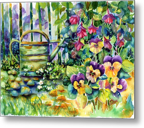 Picket Fence Pansies Metal Print