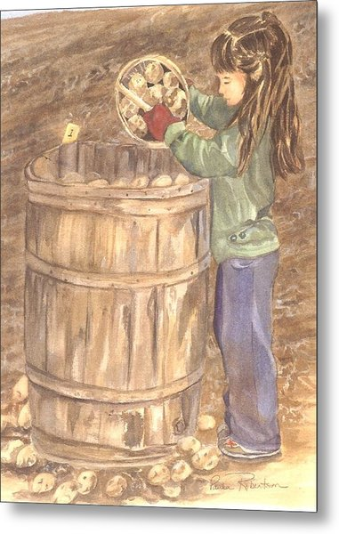 Metal Print featuring the painting Picking At A Young Age 1 by Paula Robertson