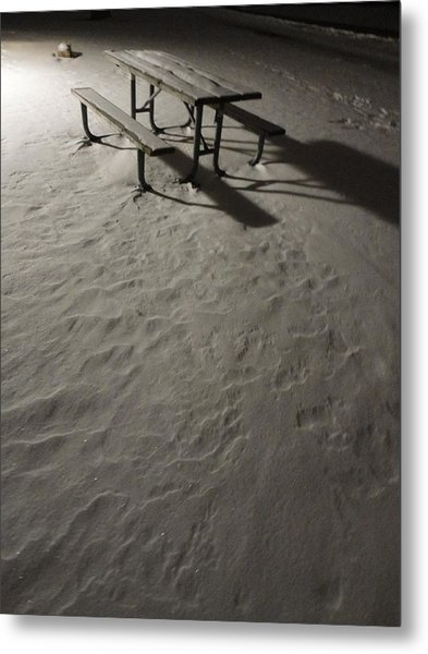 Picnic Table In The Untried Snow Metal Print by Guy Ricketts